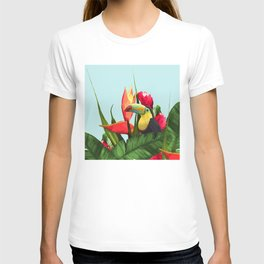 Toucan Tropical Banana Leaves Bouquet T-shirt