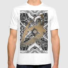 Gold Woman in Black and White Trees T-shirt