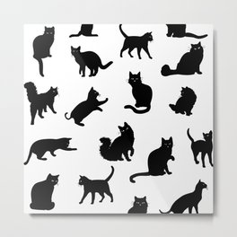 Crazy Cat Love Pattern Metal Print