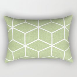 Lime Green and White - Geometric Textured Cube Design Rectangular Pillow