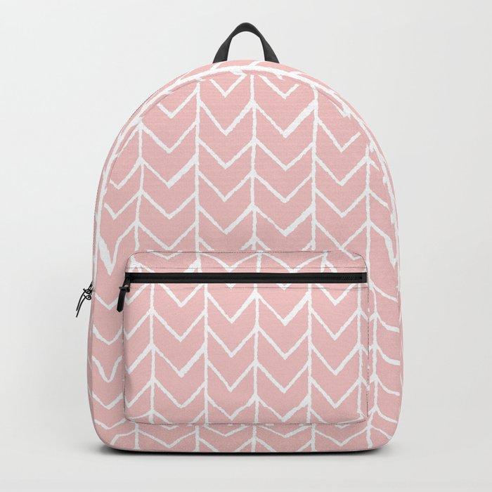 Herringbone Pink Rucksack