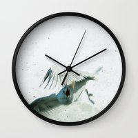 wings Wall Clocks featuring Wings by Bella Blue Photography
