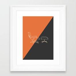 Eames Lounge // Mid Century Modern Minimalist Illustration Framed Art Print