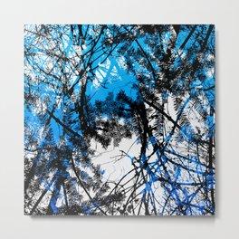 Blue tree pillow one Metal Print