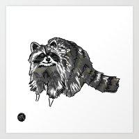 racoon Art Prints featuring Racoon by HelloDarlingDesign