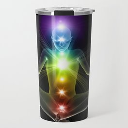 Humanoid in lotus yoga pose with glowing chakras Travel Mug