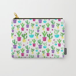 Watercolor Succulent Cactus Pattern Carry-All Pouch
