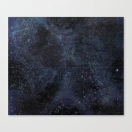 Antique World Star Map Navy Blue Canvas Print