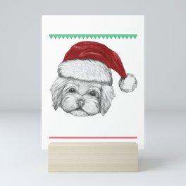 Woof Havanese Dog Lover Christmas Ugly Christmas Sweater Funny Santa Gift Mini Art Print