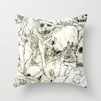 bones Throw Pillows featuring Bones by Jess Worby