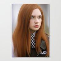 amy pond Canvas Prints featuring AMY POND  by Kayla Theodorou