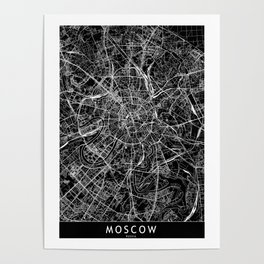 Moscow Black Map Poster