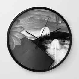 Abstract Flowers. Black and White. Flowers. Mountains. Landscape Wall Clock