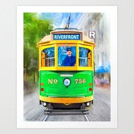 Vintage Streamline Streetcar - Savannah Riverfront Art Print