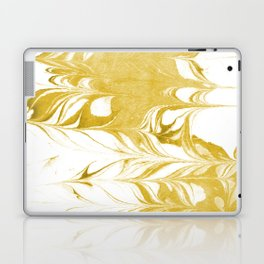 Suminagashi 3 gold and white marble spilled ink ocean swirl watercolor painting Laptop & iPad Skin