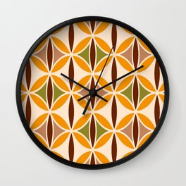 Retro 70s yellow brown ovals grid Wall Clock