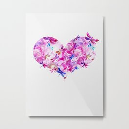 Dragonfly Heart- Pink and Blue Metal Print