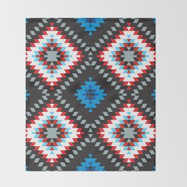 Colorful patchwork mosaic oriental kilim rug with traditional folk geometric ornament. Tribal style Throw Blanket