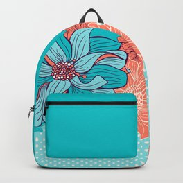 Dahlia floral border in turquoise Backpack
