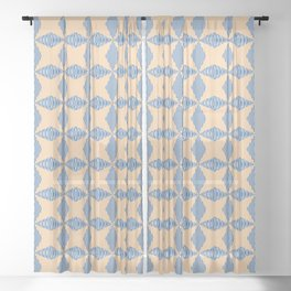 Cross the lines - blue and yellow Sheer Curtain