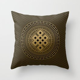 Gold Endless Knot  in Mandala Decorative Shape Throw Pillow