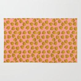 Gold Metallic Foil Monstera Leaves on Peachy Pink Rug
