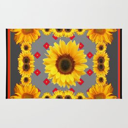 Western Blanket Style Sunflowers Grey Art Rug