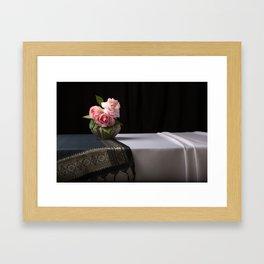 Roses and silk still life Framed Art Print