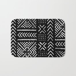 Line Mud Cloth // Black Bath Mat