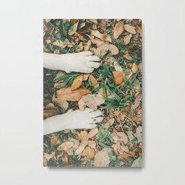 White Dog Paws On Fallen Leaves Metal Print
