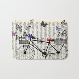 Bicycle and butterflies Bath Mat