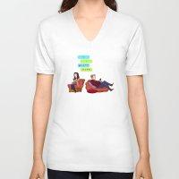 birthday V-neck T-shirts featuring Birthday Cake Birthday Cake by Blue