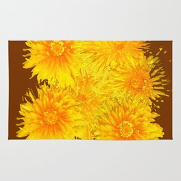 ABSTRACTED COFFEE BROWN   FIRST SPRING YELLOW DANDELIONS Rug