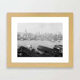 New York skyline from Brooklyn Framed Art Print