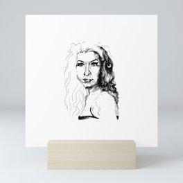 The girl with the guitar Mini Art Print