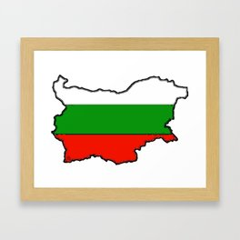 Bulgaria Map with Bulgarian Flag Framed Art Print