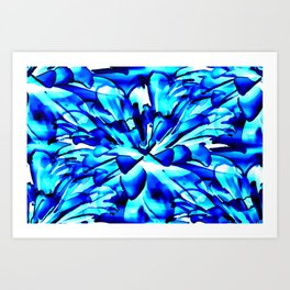 Painterly Ocean Blue Floral Abstract Art Print
