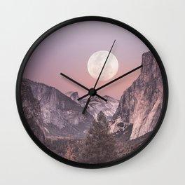 Pastel Full Moon Over Yosemite Park Wall Clock