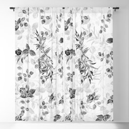 Classic Minimal Floral Watercolor Rose Pattern Blackout Curtain