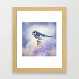 Blue jay in Flower garden,watercolor painting Framed Art Print