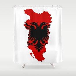 Albania Map with Albanian Flag Shower Curtain