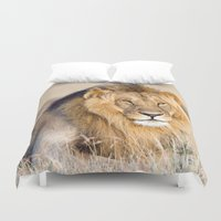 the lion king Duvet Covers featuring Lion King by Angelika Stern