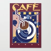 cafe Canvas Prints featuring Cafe by David Chestnutt