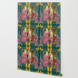 PINK HOLLYHOCKS & YELLOW  BUTTERFLIES TEAL Wallpaper