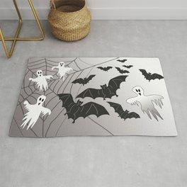 Ghosts and Bats Spiderweb Halloween Rug