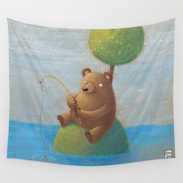 Fisherman Bear Wall Tapestry