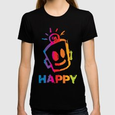 HAPPY  Stripes Black Womens Fitted Tee SMALL