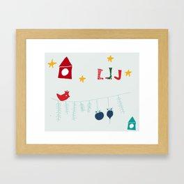 Holiday bird gray Framed Art Print