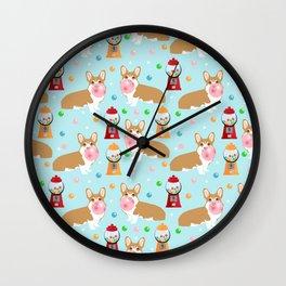 Corgi bubblegum cute pet portrait custom dog breed art pattern by pet friendly Wall Clock