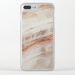 Brown Marbel with Gold Clear iPhone Case